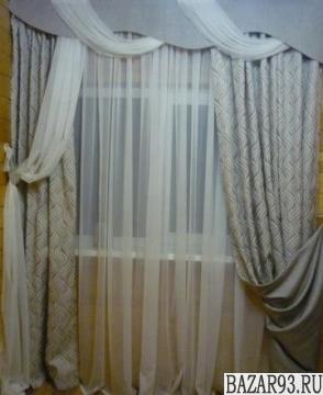 Комплект штор с комбинированным ламбрекеном