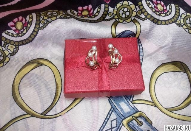 Серьги и кольцо, позолочен. серебро 925 пр