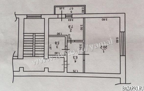Продам квартиру 1-к квартира 38 м² на 2 этаже 5-этажного кирпичного дома