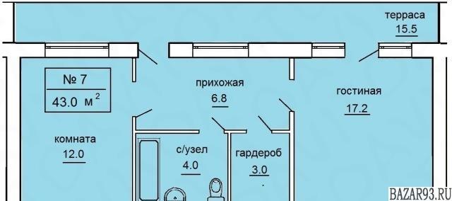 Продам квартиру в новостройке 1-к квартира 43 м² на 1 этаже 2-этажного кирпичног
