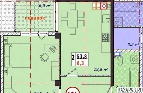 Продам квартиру в новостройке 1-к квартира 53. 8 м² на 1 этаже 6-этажного моноли