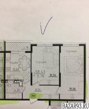 Продам квартиру в новостройке 2-к квартира 60. 3 м² на 3 этаже 5-этажного моноли