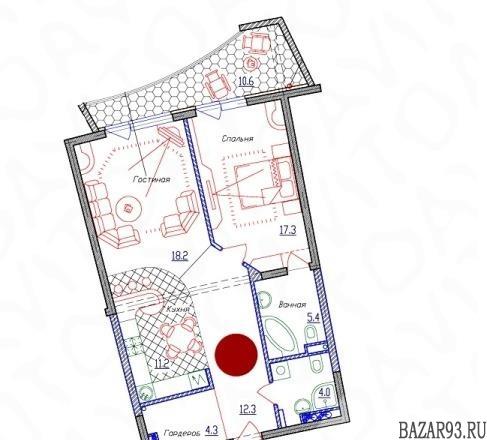 Продам квартиру в новостройке 2-к квартира 83 м² на 6 этаже 17-этажного монолитн