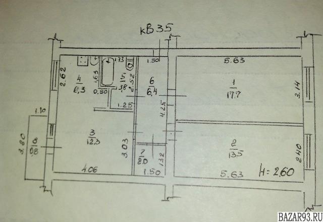 Продам квартиру 3-к квартира 63 м² на 5 этаже 5-этажного кирпичного дома