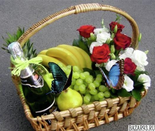 Корзина с цветами и бабочками Я вас Люблю