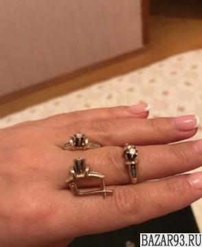 Бриллиантовый комплект серьги и кольцо размер коль